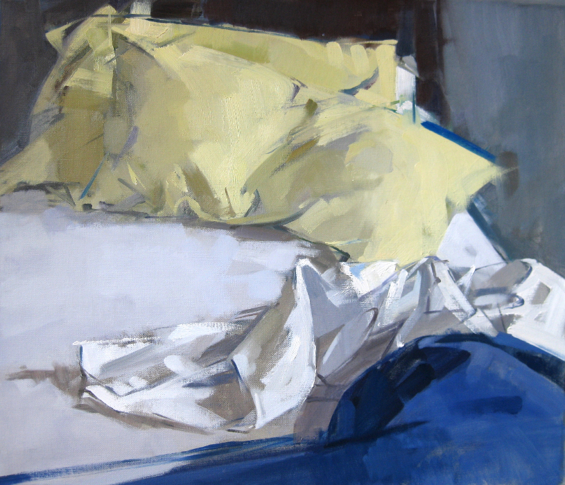 Blue Blanket:Yellow Pillows